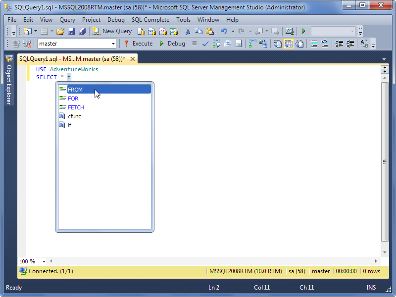 Exemplo do SQL Complete