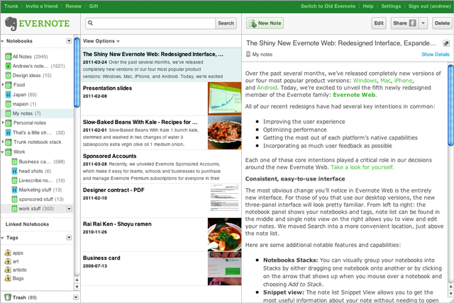 Evernote UI Web